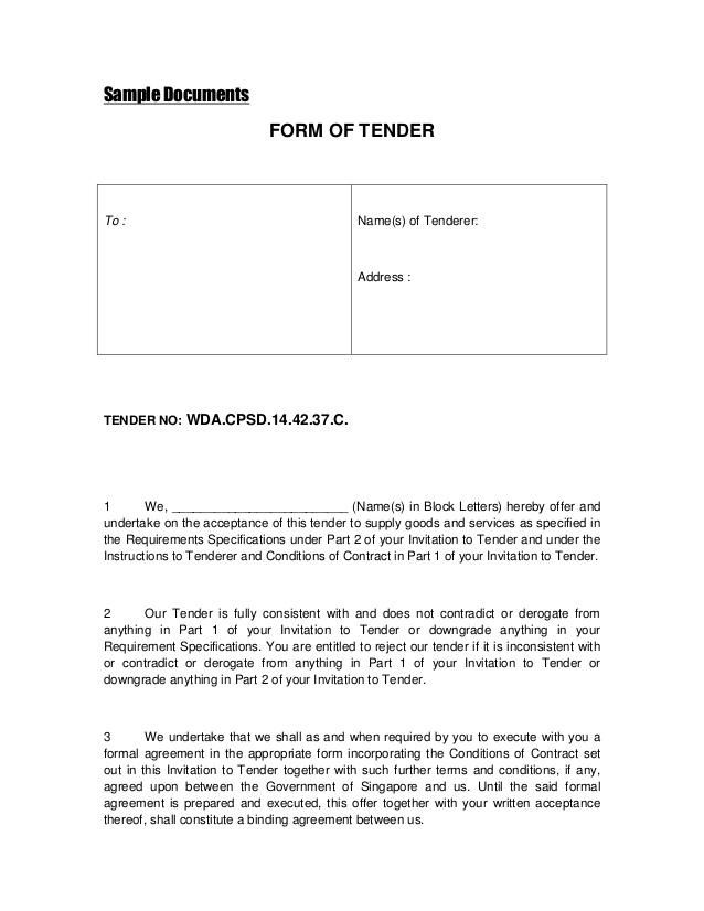 Tender template document datariouruguay stopboris Choice Image