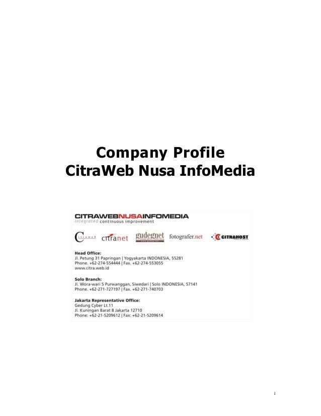 Company Profile Citraweb Nusa InfoMedia 2013