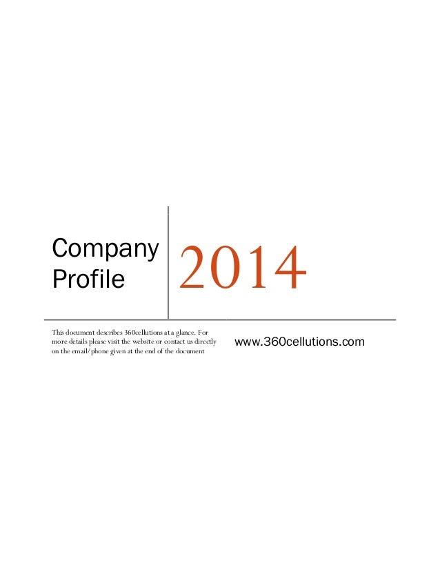 Company profile360cellutions