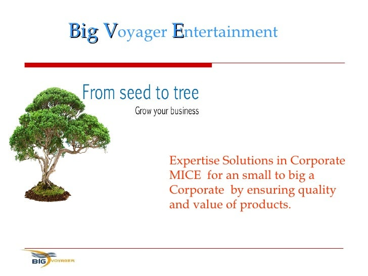 Big V oyager  E ntertainment Expertise Solutions in Corporate MICE  for an small to big a Corporate  by ensuring quality a...