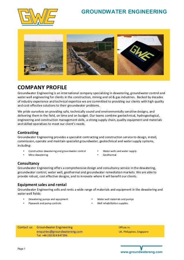 Page 1 GROUNDWATER ENGINEERING                            COMPANY  PROFILE   Groundwater  Engineer...