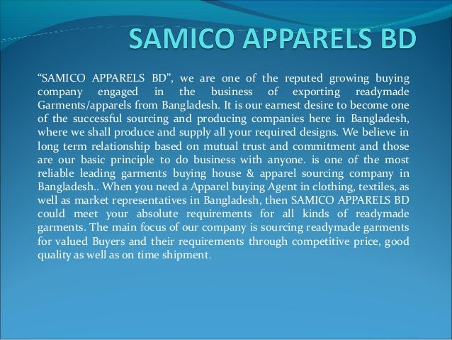 company profile of samico apparels bd. Black Bedroom Furniture Sets. Home Design Ideas