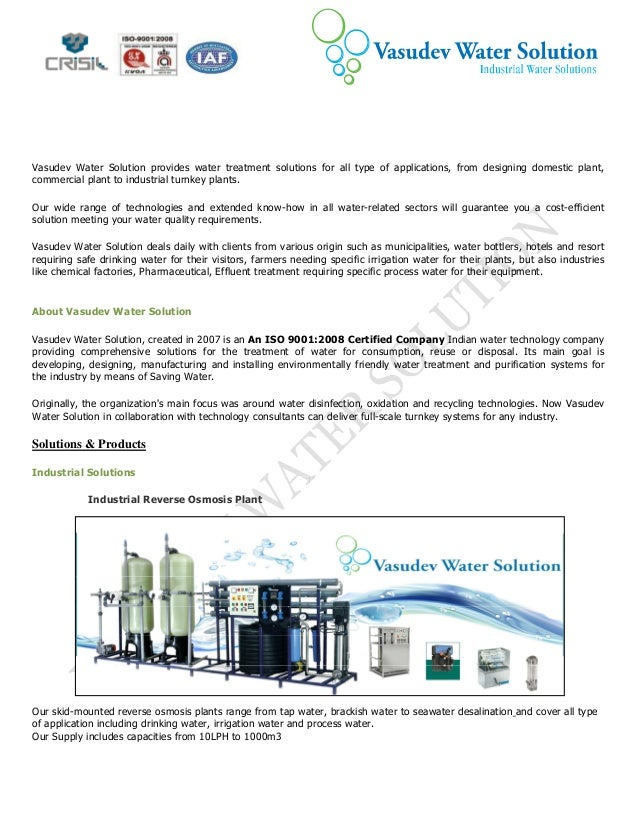 Company profile vasudev water solution an iso 9001 2000