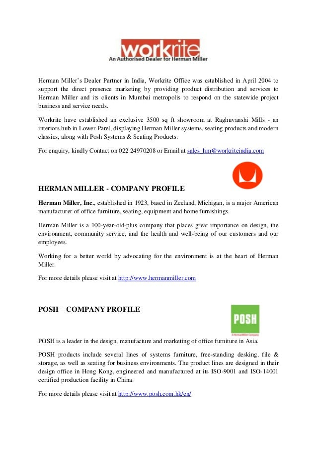 Company Profile Workrite Herman Miller Posh