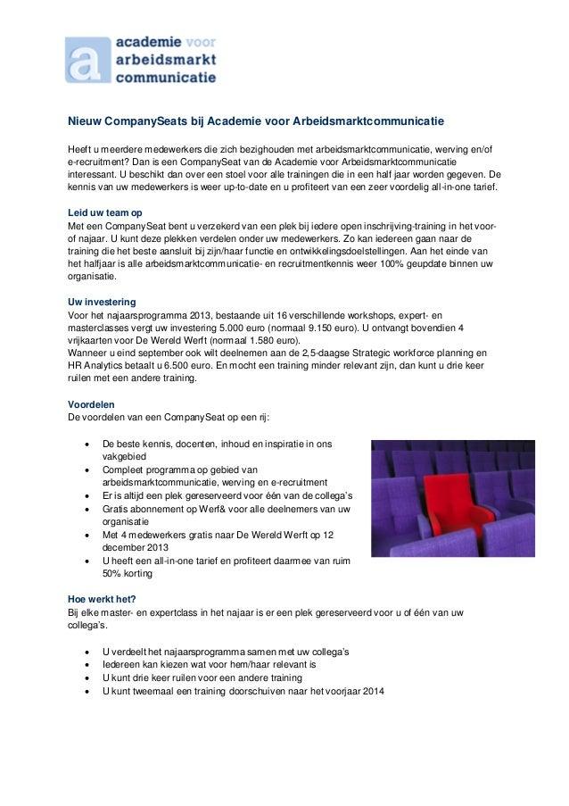 Company seats academie voor arbeidsmarktcommunicatie