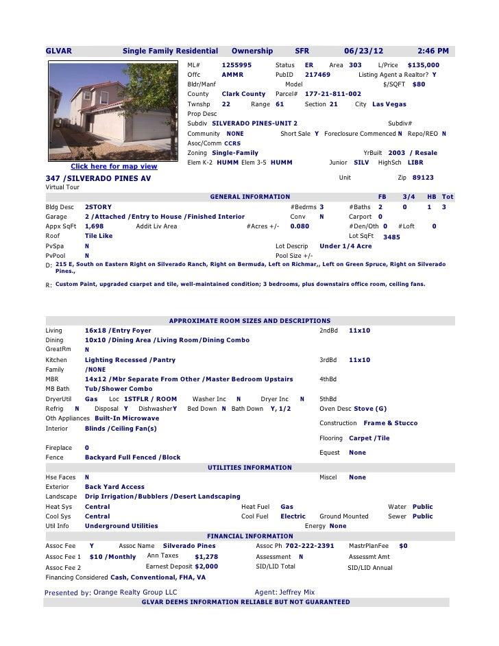GLVAR                    Single Family Residential           Ownership            SFR             06/23/12                ...