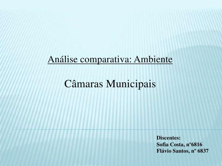 Análise comparativa: Ambiente <br />Câmaras Municipais<br />Discentes:<br />Sofia Costa, nº6816<br />Flávio Santos, nº 683...