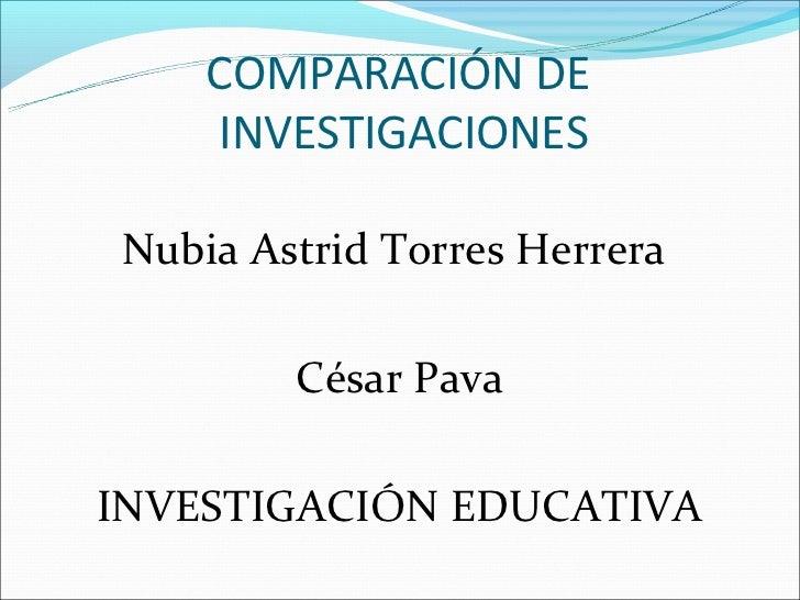 COMPARACIÓN DE    INVESTIGACIONESNubia Astrid Torres Herrera        César PavaINVESTIGACIÓN EDUCATIVA