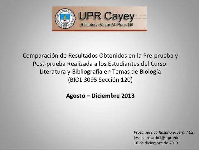 Comparación Resultados Pre-prueba y Post-prueba Biol 3095 Secc. 120 Agosto-Diciembre 2013