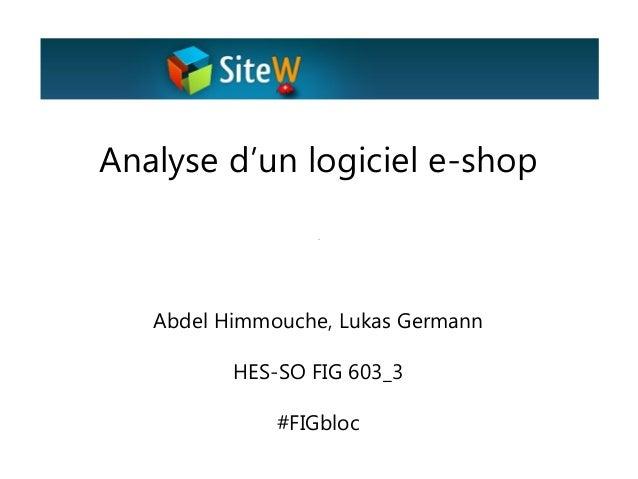 Analyse d'un logiciel e-shop  Abdel Himmouche, Lukas Germann HES-SO FIG 603_3 #FIGbloc