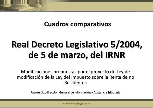 Bartolomé Borrego Zabala  Real Decreto Legislativo 5/2004, de 5 de marzo, del IRNR  Modificaciones propuestas por el proye...