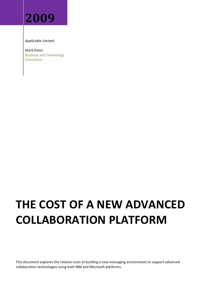 2009      Applicable Limited       Mark Dixon      Business and Technology      Consultant     THE COST OF A NEW ADVANCED ...