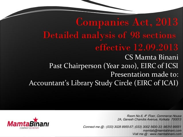 Comparative analysis 98 sections of cos act 2013