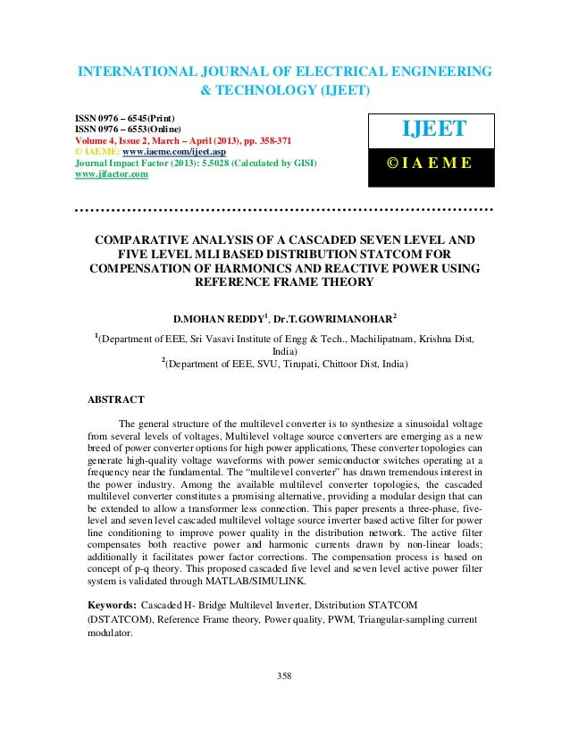 Comparative analysis of a cascaded seven level and five level mli based distribution
