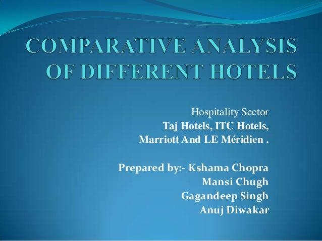 Comparative analysis of different hotels  itc, marriott, hyatt n le meridien