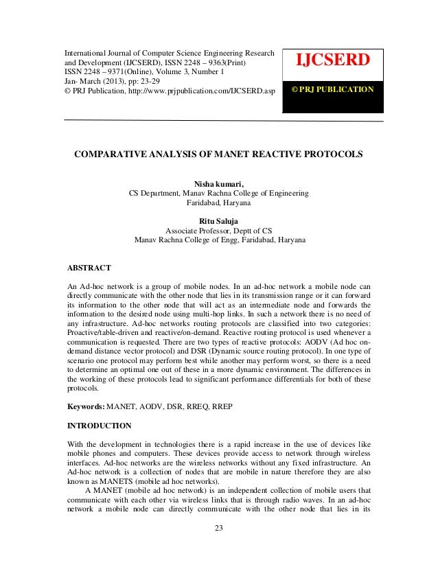 Comparative analysis of manet reactive protocols