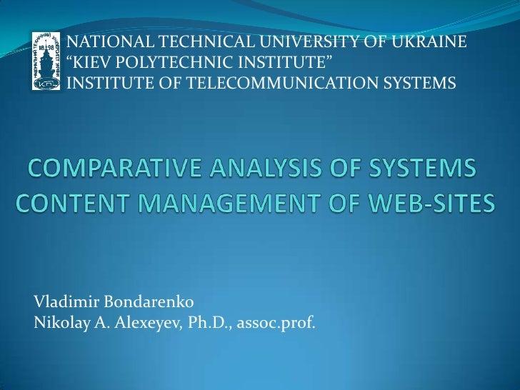 "NATIONAL TECHNICAL UNIVERSITY OF UKRAINE<br />""KIEV POLYTECHNIC INSTITUTE""<br />INSTITUTE OF TELECOMMUNICATION SYSTEMS<br ..."