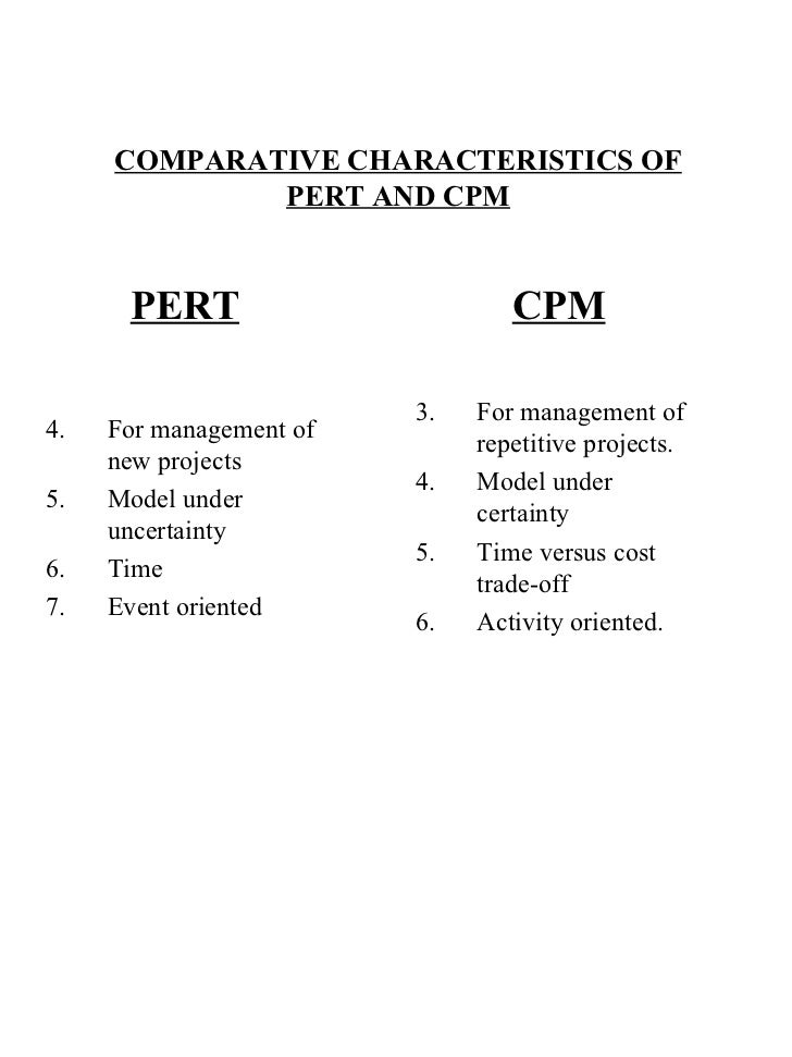 COMPARATIVE CHARACTERISTICS OF PERT AND CPM <ul><li>PERT </li></ul><ul><li>For management of new projects </li></ul><ul><l...