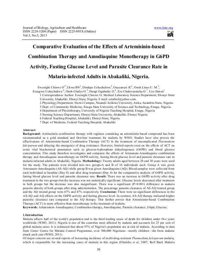 Comparative evaluation of the effects of artemisinin based combination therapy and amodiaquine monotherapy in
