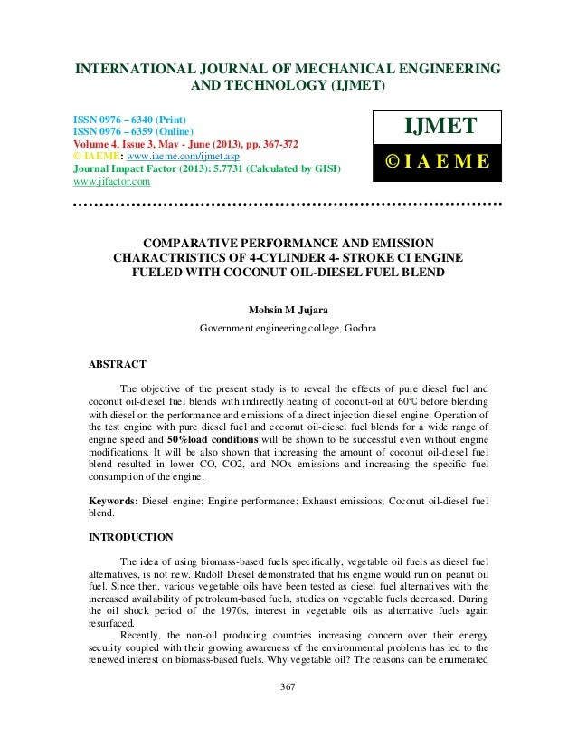 Comparative performance and emission charactristics of 4 cylinder 4- stroke
