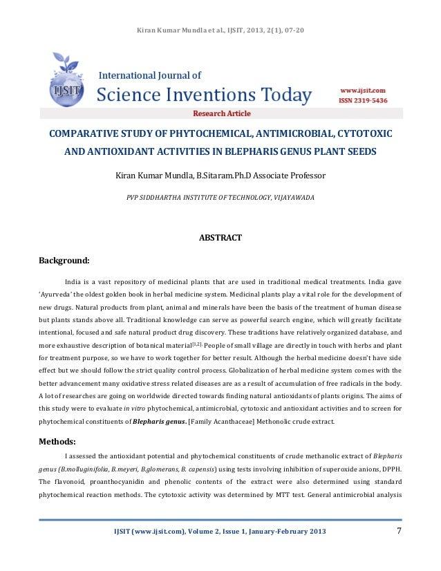 Kiran Kumar Mundla et al., IJSIT, 2013, 2(1), 07-20   COMPARATIVE STUDY OF PHYTOCHEMICAL, ANTIMICROBIAL, CYTOTOXIC        ...