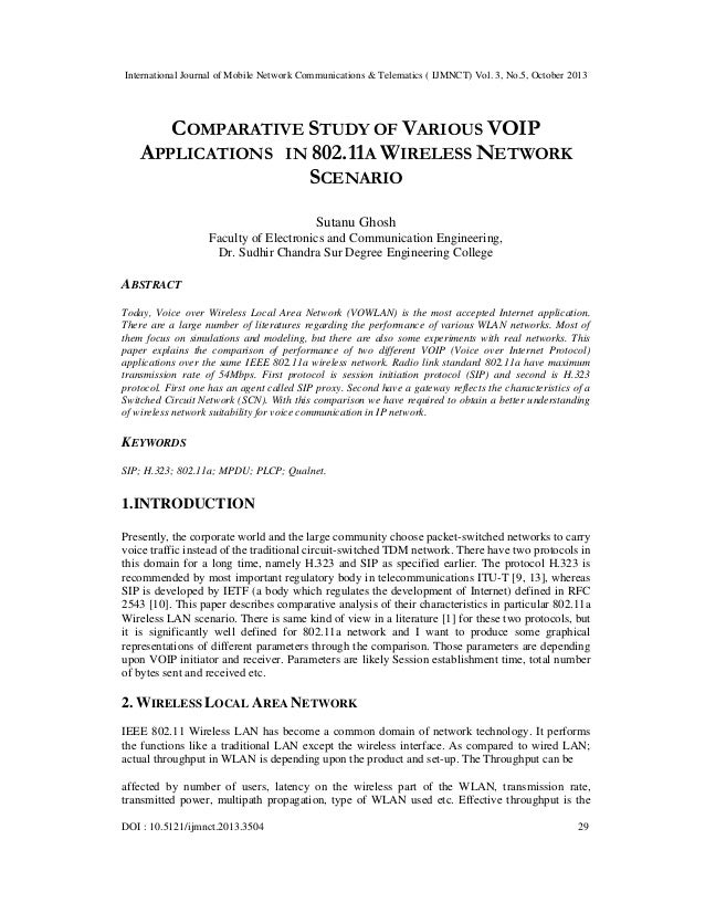 International Journal of Mobile Network Communications & Telematics ( IJMNCT) Vol. 3, No.5, October 2013  COMPARATIVE STUD...