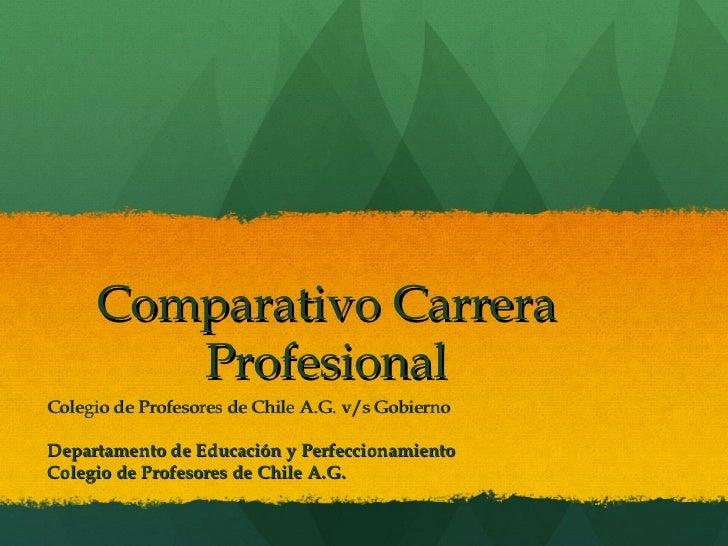 Comparativo Carrera        ProfesionalColegio de Profesores de Chile A.G. v/s GobiernoDepartamento de Educación y Perfecci...