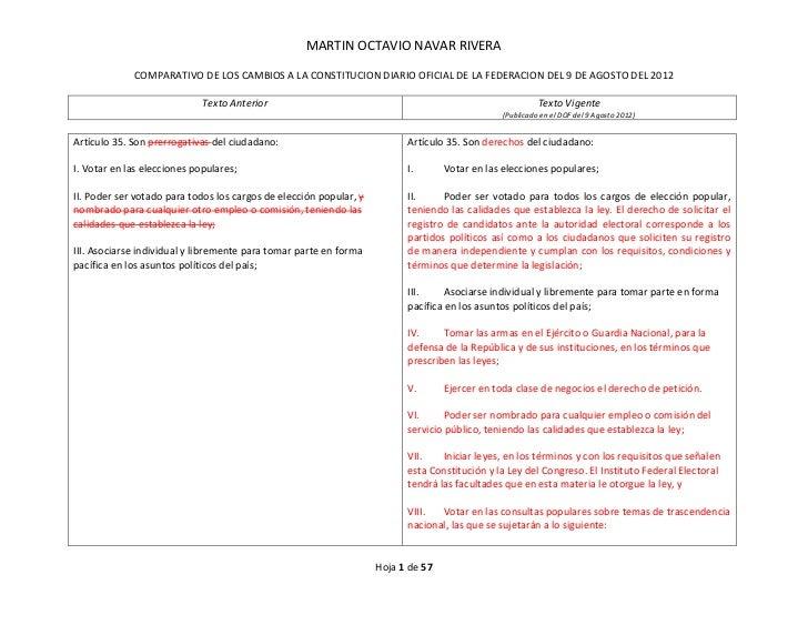 MARTIN OCTAVIO NAVAR RIVERA             COMPARATIVO DE LOS CAMBIOS A LA CONSTITUCION DIARIO OFICIAL DE LA FEDERACION DEL 9...