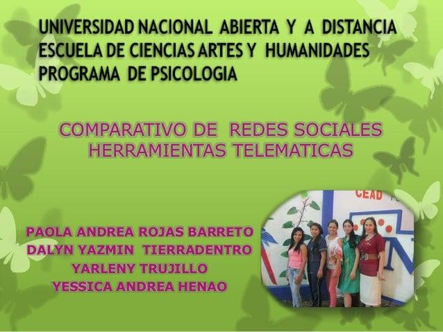 COMPARATIVO DE REDES SOCIALES HERRAMIENTAS TELEMATICAS  PAOLA ANDREA ROJAS BARRETO DALYN YAZMIN TIERRADENTRO YARLENY TRUJI...