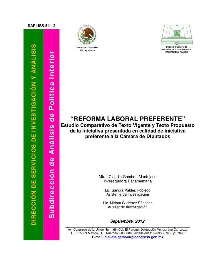 Comparativo iniciativa de reforma laboral