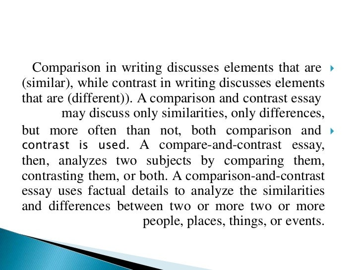 Compare and contrast essay introduction sample