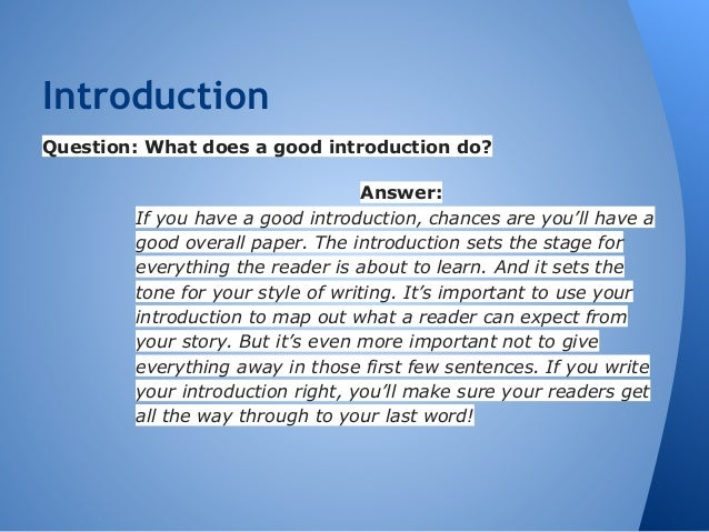 how to start a good introduction
