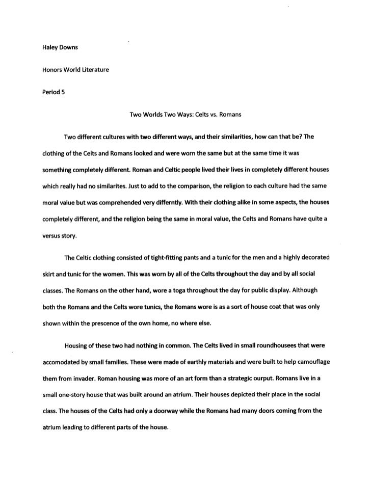 Compare and contrast essay introduction