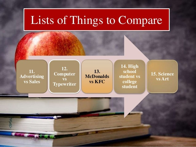 ideas for compare and contrast essay What is a compare and contrast essay the primary aim of the compare and contrast essay is to select two issues, from the same category, to conduct a research of their similarities and.