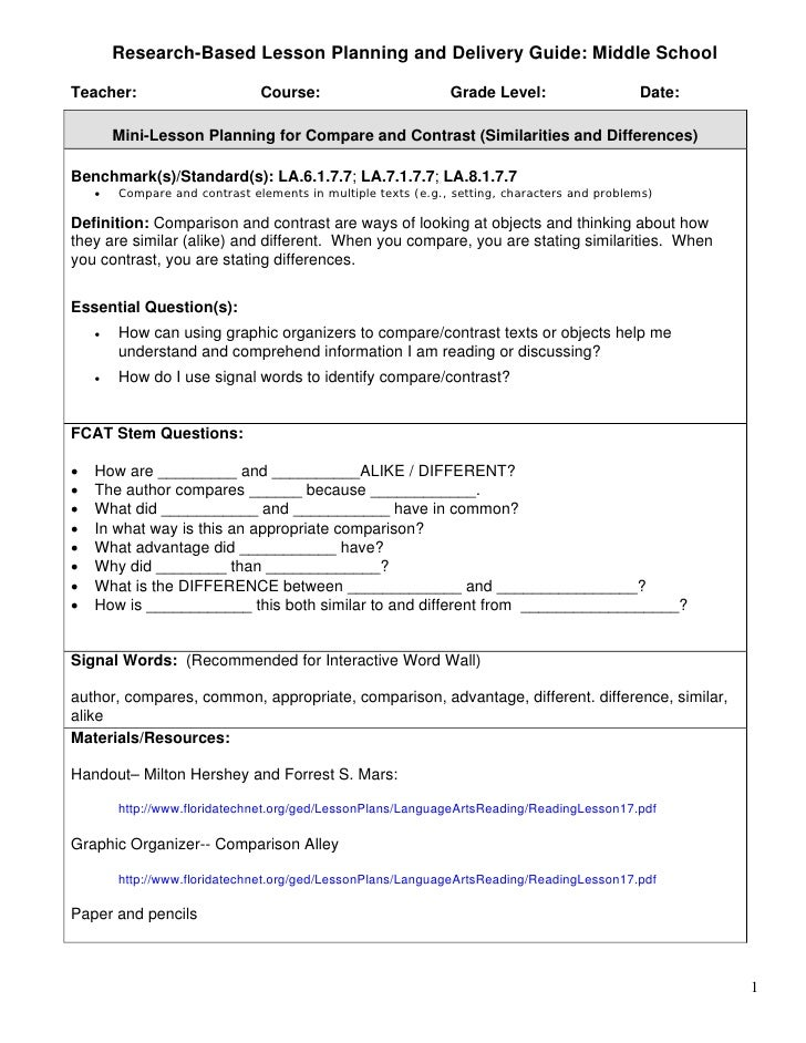 compare contrast essay lesson plan 3plan a lesson that uses the compare and contrast essay) to convey the most cte concept learning: compare & contrast part 2.