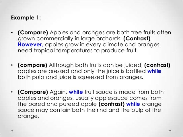 comparing apples and oranges essay