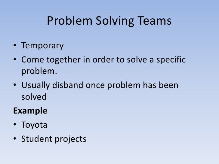 problem solving and team members