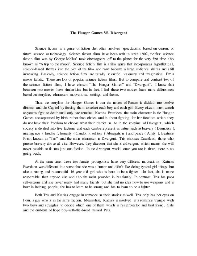 conflict in the hunger games essay After the destruction of district 13, the treaty of treason was signed to end the  conflict, and the hunger games were instituted to remind the districts that the.