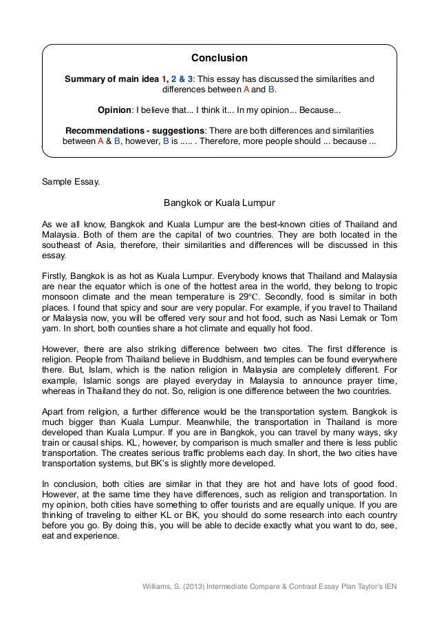 examples of comparison contrast essays