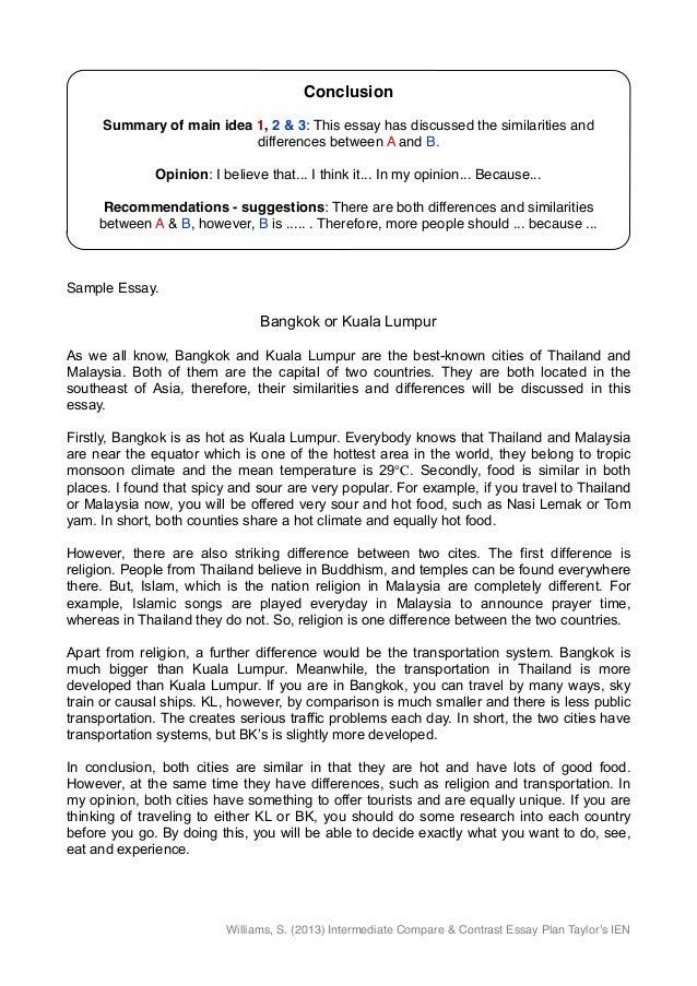 example of comparison contrast essay