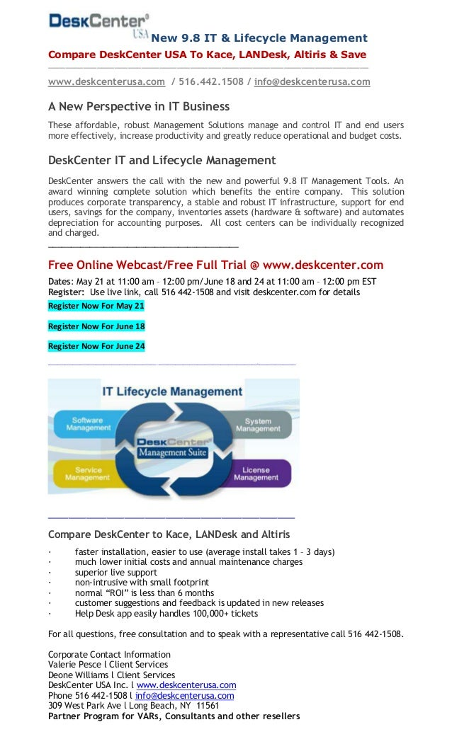 New 9.8 IT & Lifecycle Management Compare DeskCenter USA To Kace, LANDesk, Altiris & Save ________________________________...