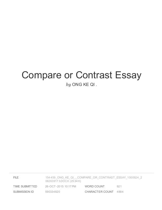 Help writing a compare and contrast paper