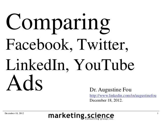 Comparing Facebook Twitter LinkedIn YouTube Ads by Augustine Fou Chief Digital Officer