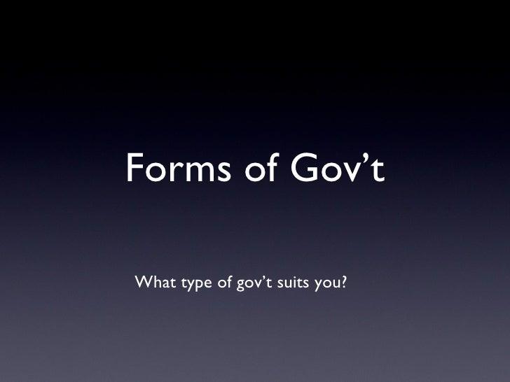 Comparing gov'ts