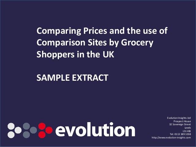 Comparing Prices and Comparison Sites 2012