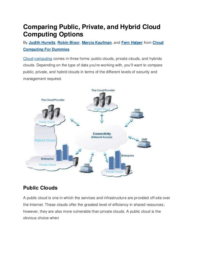 Comparing Public, Private, and Hybrid Cloud Computing Options By Judith Hurwitz, Robin Bloor, Marcia Kaufman, and Fern Hal...