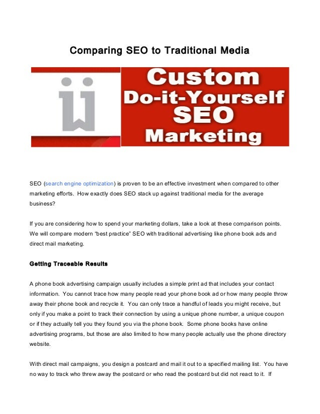 Comparing seo to traditional media
