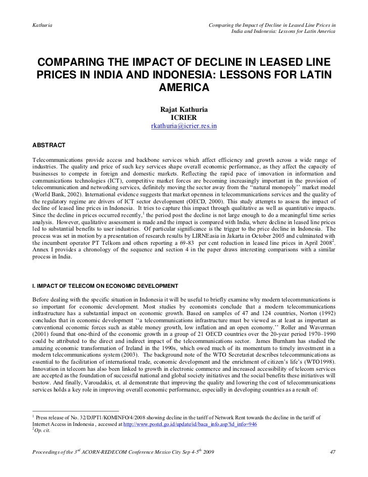 Comparing the impact of decline in leased line prices in india and indonesia lessons for latin america   rajat kathuria (2009)
