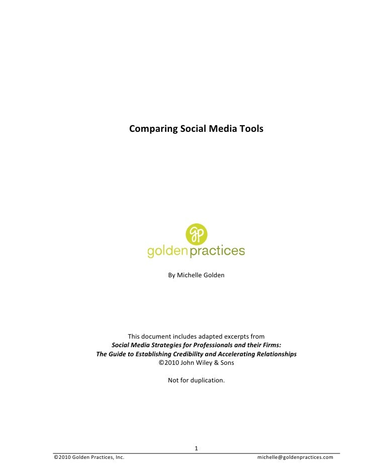 Comparing Social Media Tools