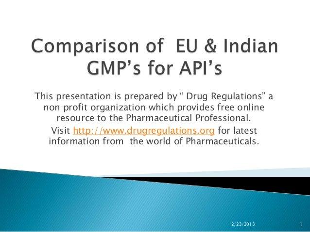 Comparision of eu & indian gmp's